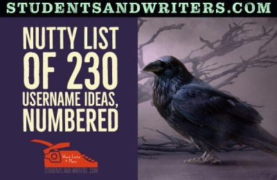 Nutty list of 230 username ideas, numbered