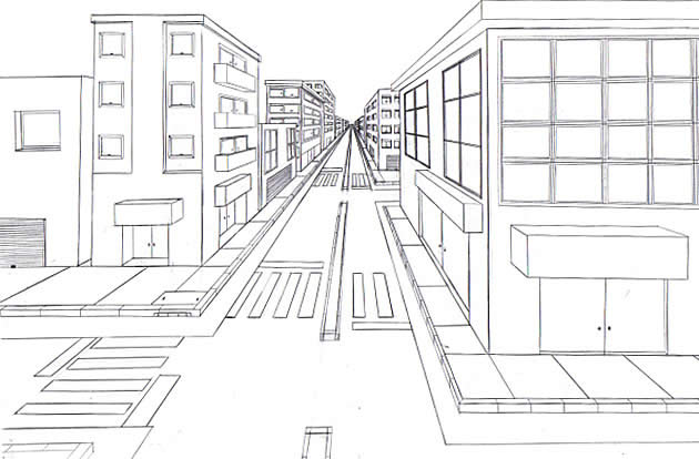 Image result for one point perspective drawing