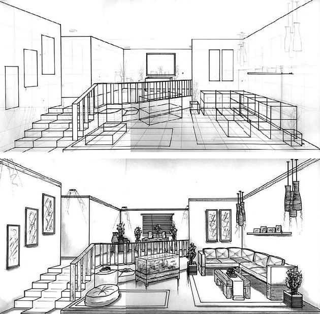 One point perspective hs art for Living room 2 point perspective