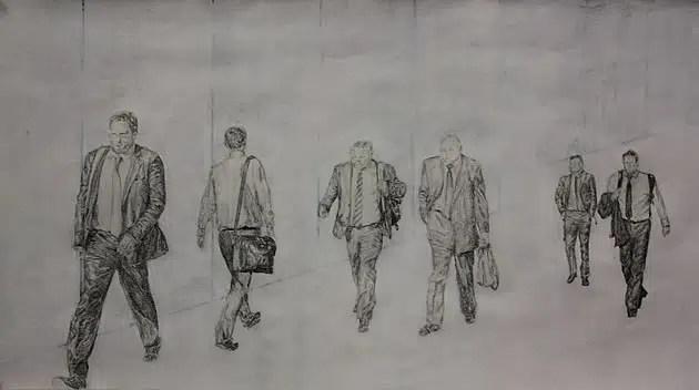 drawing of men walking