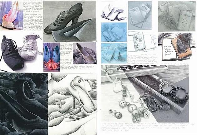 GCSE Art sketchbook pages exploring shoes