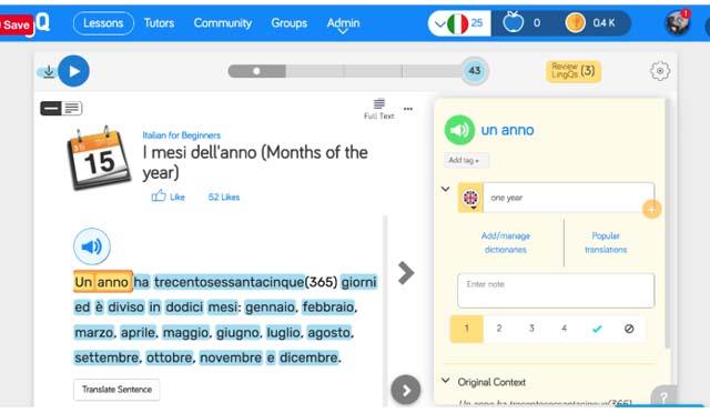 LingQ Online Italian Language Training