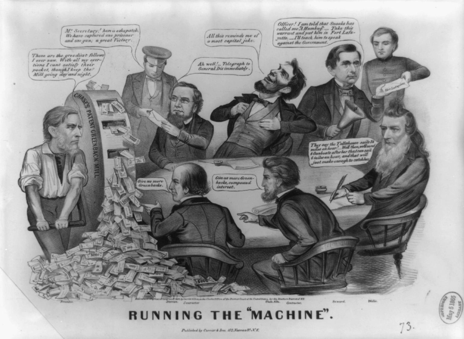 Abraham Lincoln Running The Machine Political Cartoon