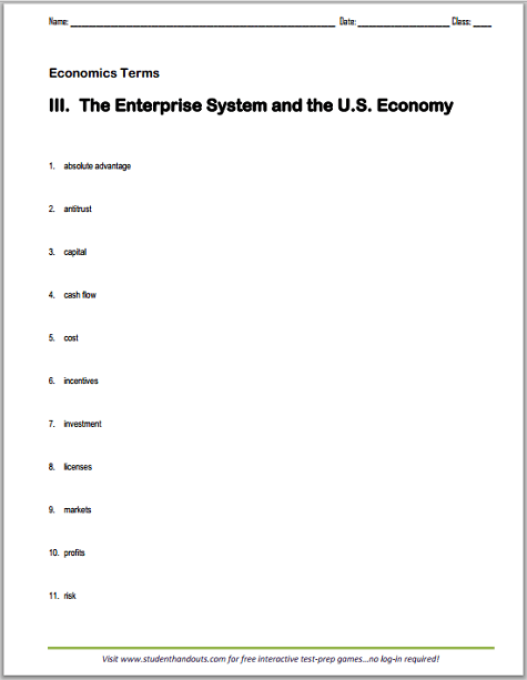 31 The American Free Enterprise System Worksheet Answers