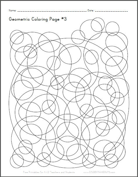 Geometric Coloring Page #3 with Checkerboard Spheres