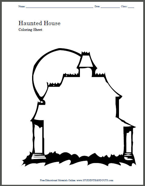 Haunted House Blank Coloring Page for Kids