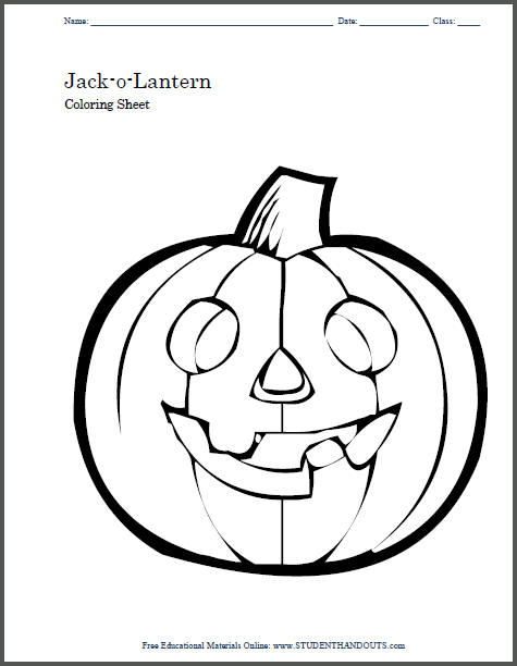 Jack-o-Lantern Free Printable Coloring Sheet for Kids