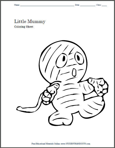 Little Child Mummy Halloween Coloring Sheet for Kids