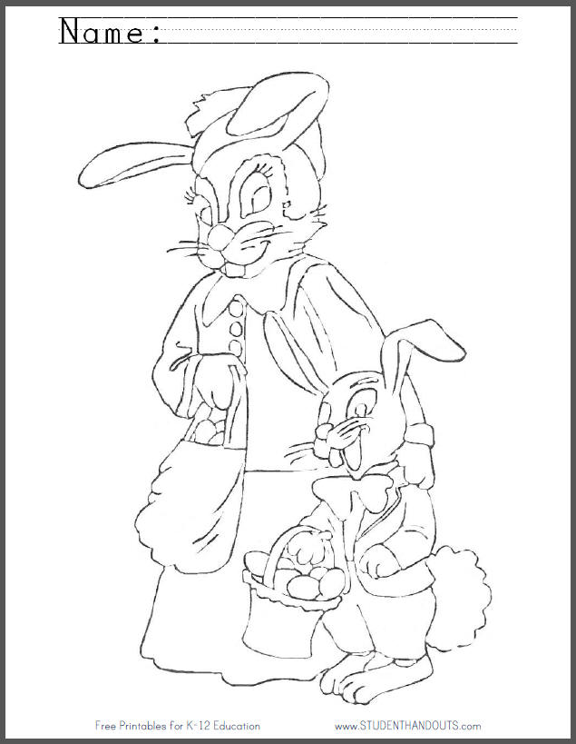 Free Printable Mother and Son Bunnies Coloring Sheet for