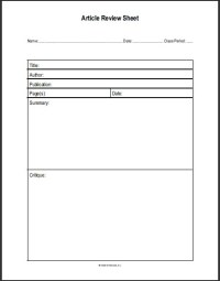 Article Review Sheet | Student Handouts