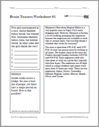 All Worksheets  Brain Teasers Worksheets With Answers ...