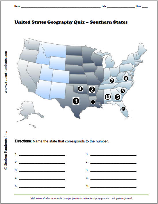 Its first capital was new york city. Southern States Map Quiz Worksheet Student Handouts