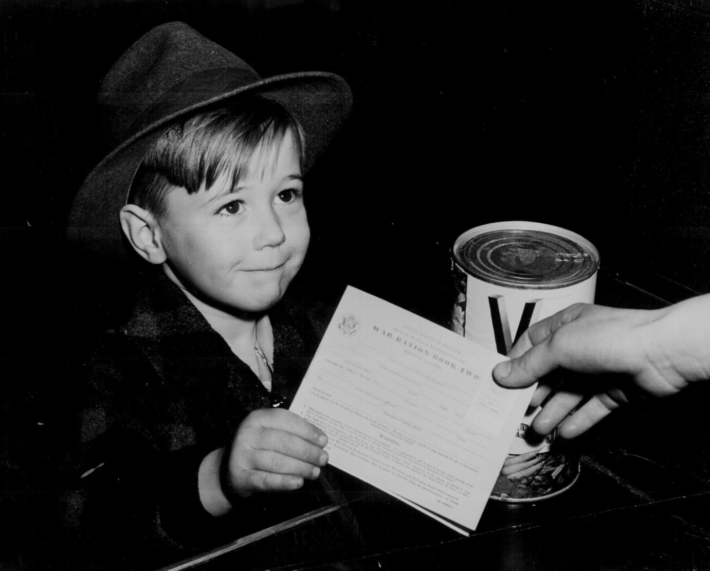 Little Boy With War Ration Book Two 1943