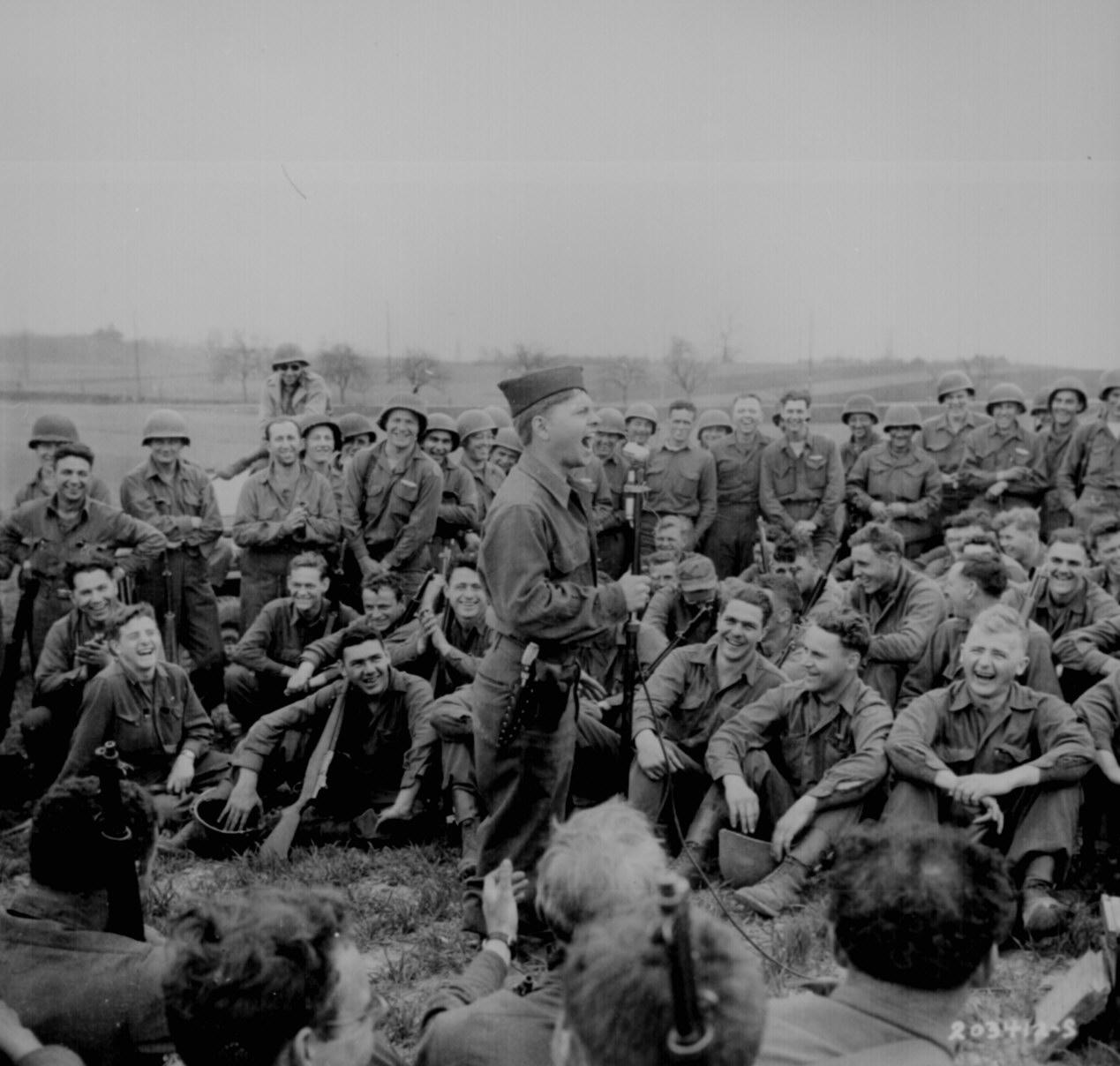 Actor Mickey Rooney Entertaining The Troops