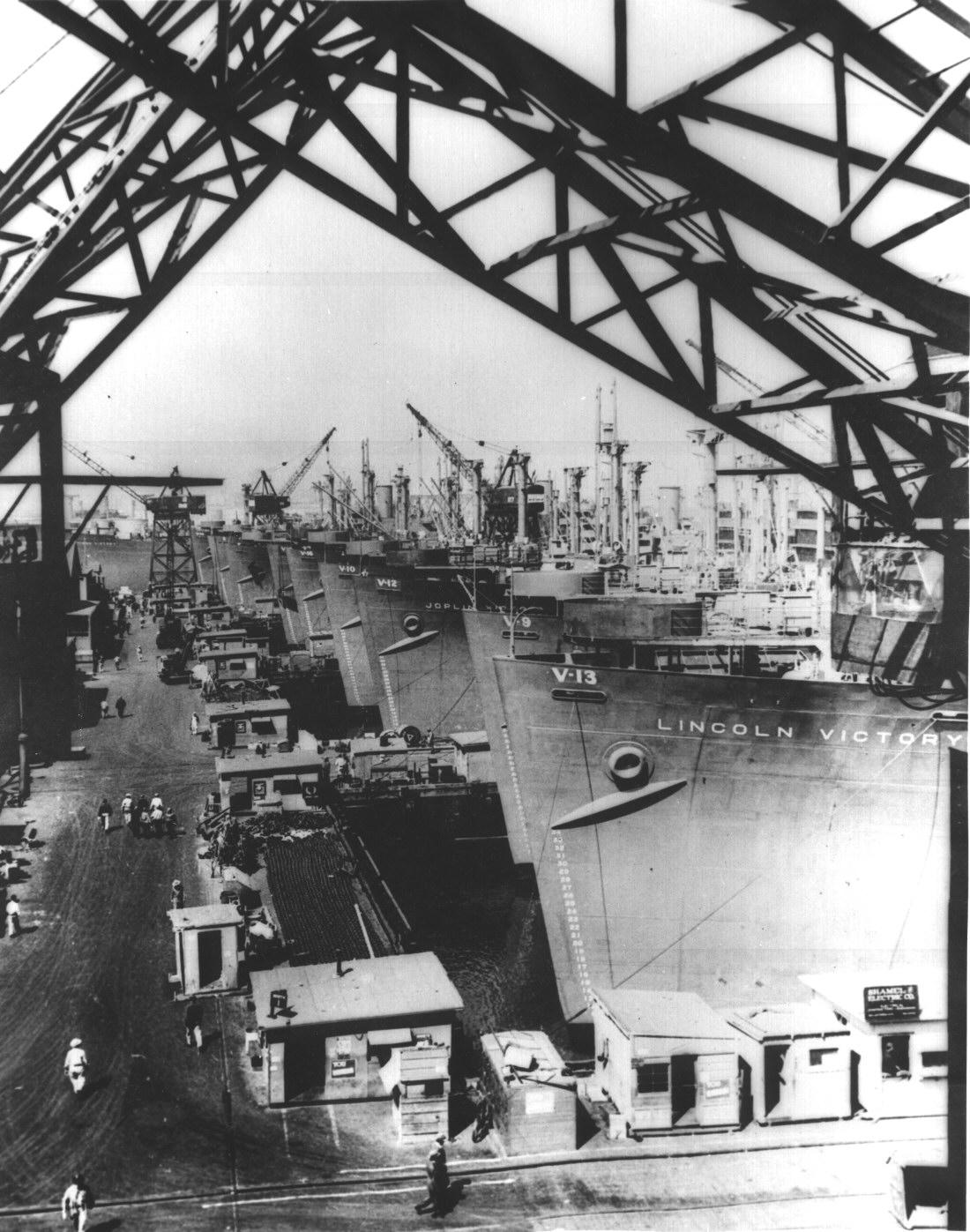 Victory Ships At A Naval Shipyard In California