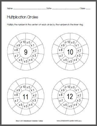 This worksheet has students multiply nine through twelve