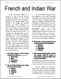The French and Indian War | Free Printable American ...