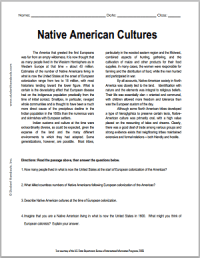 Native American Cultures   Free Printable American History ...