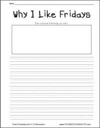 Why I Like Fridays - Free Printable K-2 Writing Prompt ...