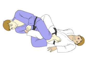Black belts in Brazilian Jiu-Jitsu (BJJ) in traditional gis demonstrating the Straight Ankle Lock submission