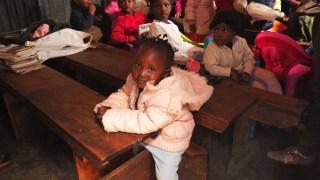Pre-school kids preparing for exam.