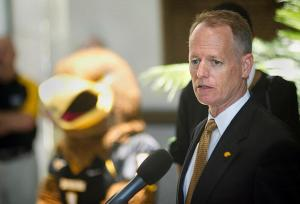 Bill McGillis speaks to the media after he is introduced as the new athletic director by President Rodney Bennett during a press conference on Thursday, July 18.