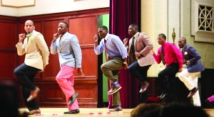 Kappa Alpha Psi Fraternity, Inc. fraternity members participate in the annual Hop Contest on stage in Bennett Auditorium during last year's NPHC week.  Ramon Glenn/Printz
