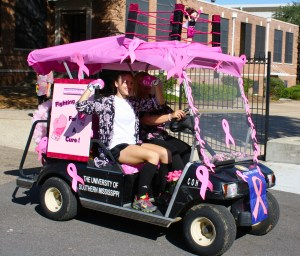 A department golf cart was decorated last year during the Paint Southern Miss Pink competition. Courtesy photo