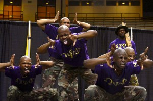 The men of Omega Psi Phi Fraternity, Inc. perform their on-stage routine at the NHPC Joint New Member Show Thursday night in Reed Green Coliseum. Kara Davidson/Printz
