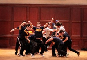 The members of the Pi Kappa Phi Fraternity perform their dance routine for Delta Gamma's King Neptune competition. Their performance earned them second place in the men's division. A.J. Stewart/Printz