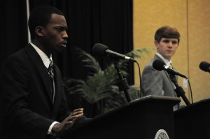The two candidates for the Student Government Association presidency, Jeffrey George and Lyeneal Griffin, express their will to win at the debate Monday night.  Kara Davidson/Printz