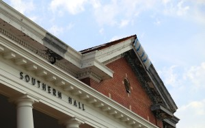 Damage from the February 2013 tornado still remains on the roof of Southern Hall.  Jessica King / Printz