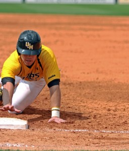 Infielder Bradley Roney led off the inning and reached first base after being hit by a pitch at the USM vs. UA game at Sewell-Thomas Stadium this past weekend. Hunt Mercier/Printz