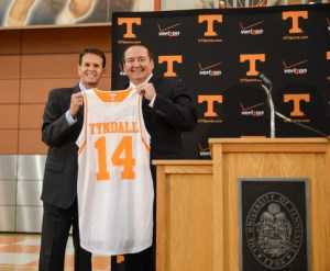 Donnie Tyndall and Dave Hart hold up a jersey as he is introduced as the head basketball coach of the University of Tennessee in Knoxville, Tenn.  Courtesy Photo