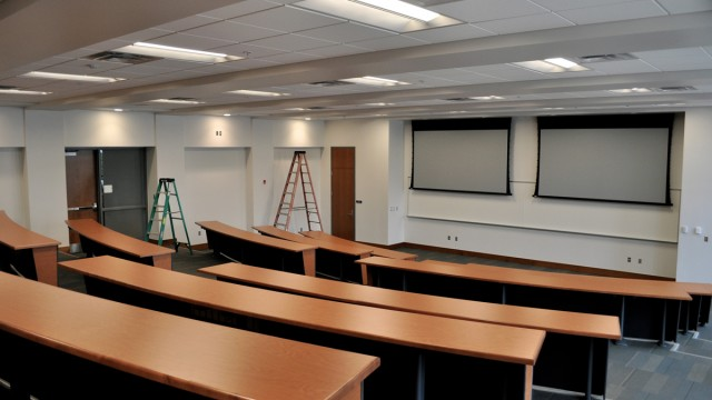 "Classrooms in Scianna Hall are tiered with ""modesty tables."" Lecture halls are to have new multimedia components and technology to allow for interactive teaching sessions."