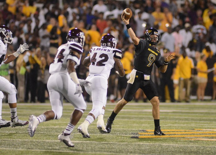Southern Miss quarterback Nick Mullens makes a pass during the game played against Mississippi State in Hattiesburg on Saturday night.  Mary Alice Weeks/Student Printz