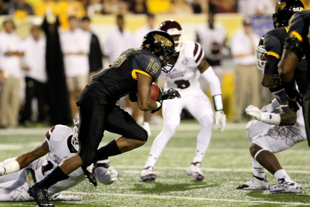 Southern Miss defensive back Curtis Mikell returning a punt against Mississippi State in Hattiesburg on Saturday night.