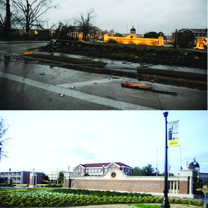 Before and after photographs of campus when the tornado of 2013 struck Hattiesburg in February 10, 2013.
