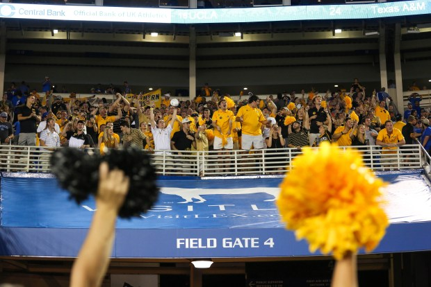 Southern Miss fans celebrate the winning at the Southern Miss vs. Kentucky football game on Sunday, Sep 4th, 2016. ( Student Printz/Fadi Shahin)