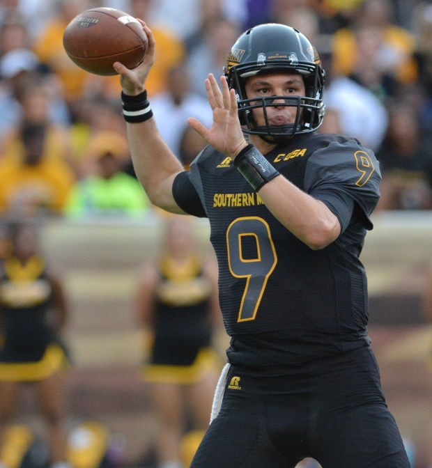 Quarterback Nick Mullens prepares to throw a pass against Savannah State in a 56-0 win on Sep. 10.