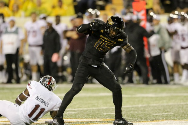 Southern Miss defensive back Devonta Foster (15) celebrates after a successful blocked pass against Troy in Hattiesburg on September 17, 2016. (Student Printz/ Hunt Mercier)
