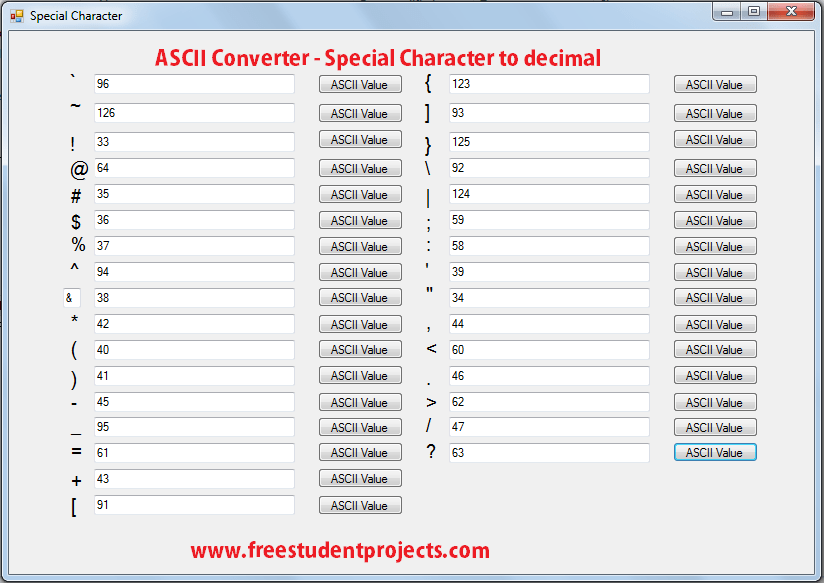 ASCII Converter - Special Characters to decimal