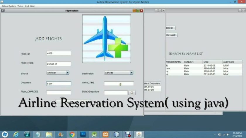 JAVA based Airline Reservation System - Student Projects