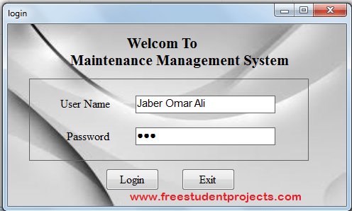 Maintanance Management System login page