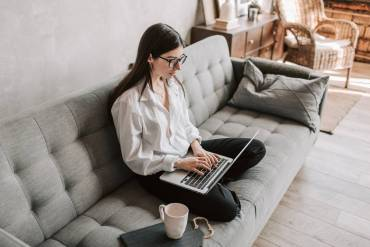 woman working at home using laptop