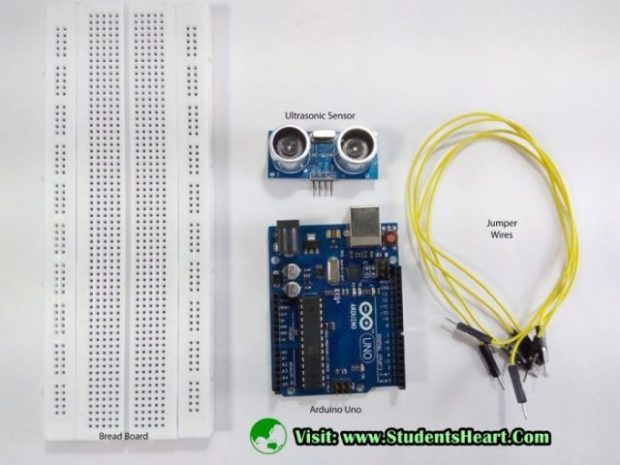 Components required for Interfacing of Ultrasonic Sensor with Arduino