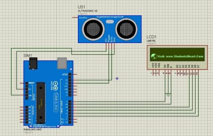 Circuit Diagram for Interfacing Ultrasonic Sensor with LCD: