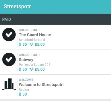 Streetspotr app payment proof