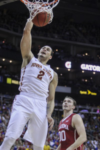 Redshirt junior guard Abdel Nader dunks during the Big 12 Championship semifinal game against Oklahoma on March 13 at the Sprint Center in Kansas City, Mo. The Cyclones defeated the Sooners 67-65 to advance to the final championship game against Kansas on March 14. Nader had seven points for Iowa State. Kelby Wingert/Iowa State Daily