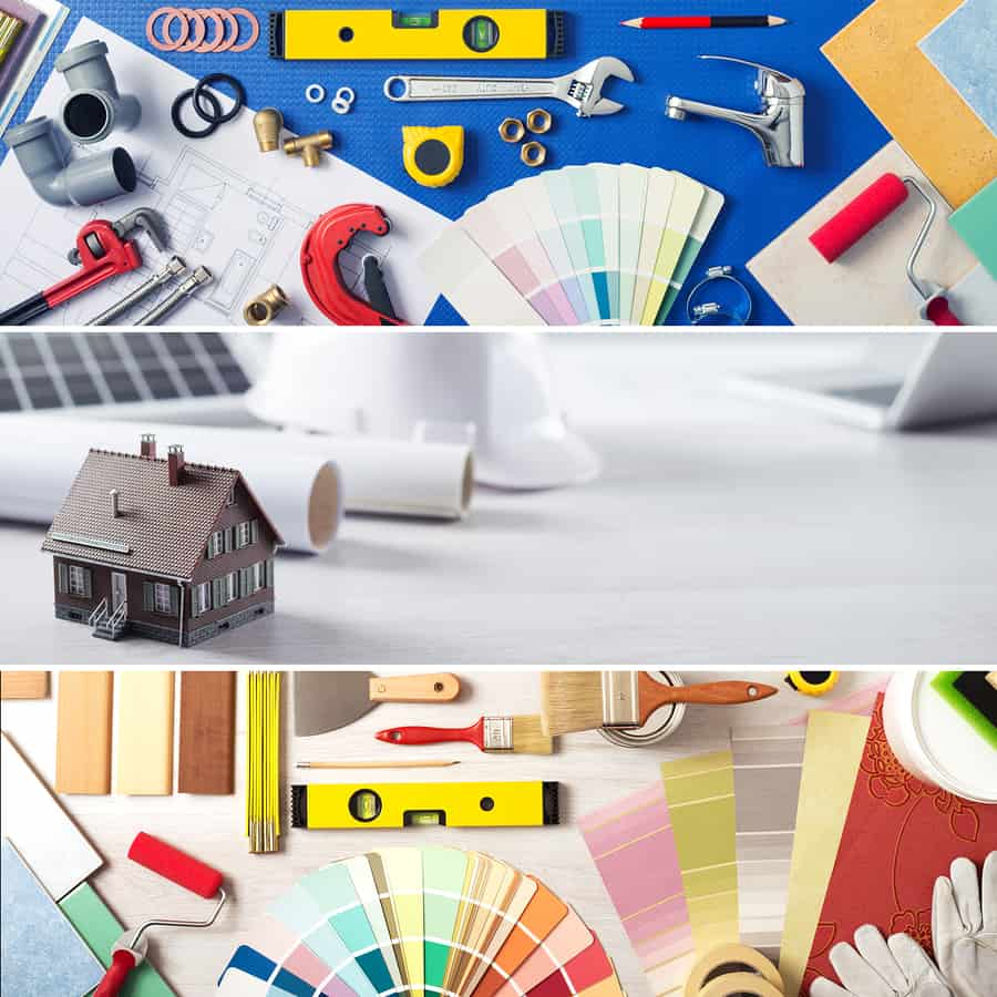 DIY home improvement and renovation banners set with work tools swatches and model house
